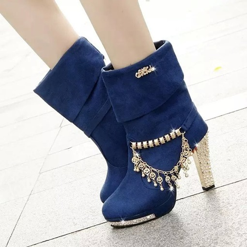 Platform Shoes Purfle Rhinestone Sequin Chunky Heel Boots