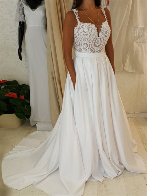 Straps Pockets Lace Beach Wedding Dress