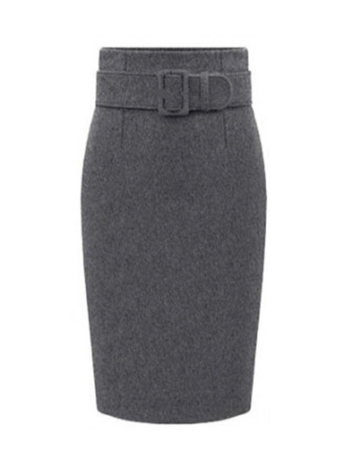 Slim Thicker Belt Straight Women's Skirt