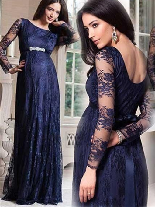 A-Line Scoop Lace Rhinestone Sashes Evening Dress