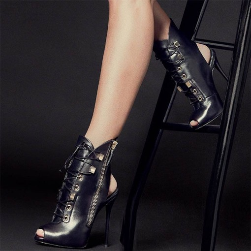 High Heel Zipper Cross Strap Women's Black Pumps