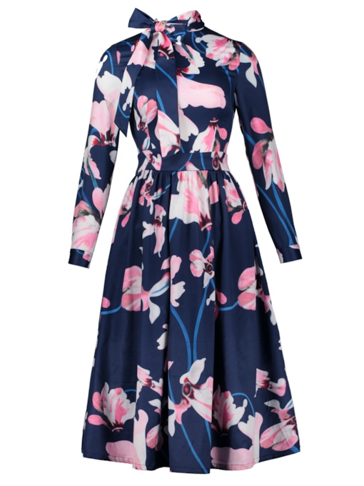Tie Neck Flowers Pattern Vacation Women's Day Dress