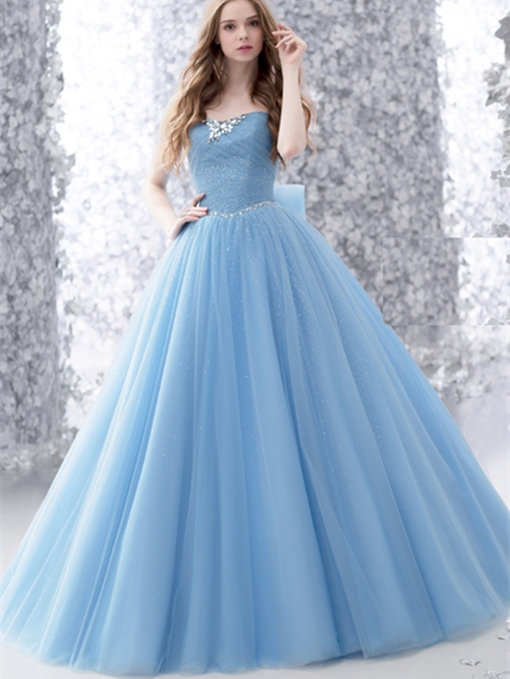 Bowknot Rhinestone Pleats Strapless Quinceanera Dress