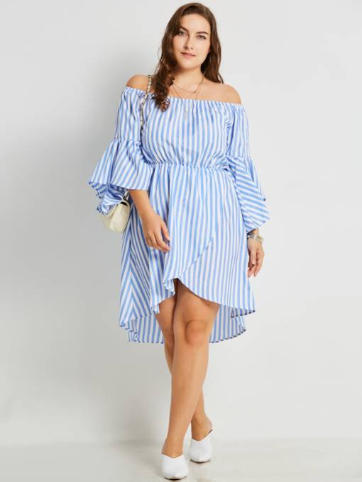 Slash Neck Plus Size Striped Women's Day Dress