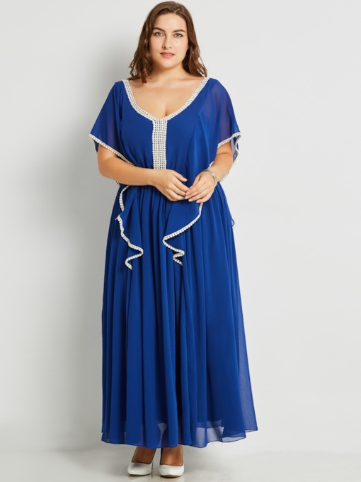 Dark Blue Plus Size Backless Women's Maxi Dress