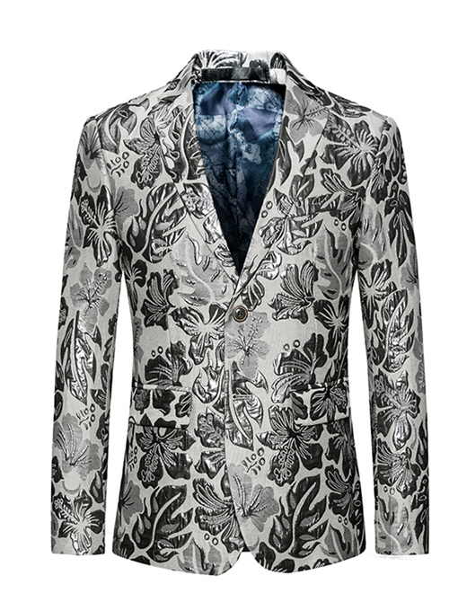 Notched Collar White One Button Floral Printed Slim Vogue Men's Blazer