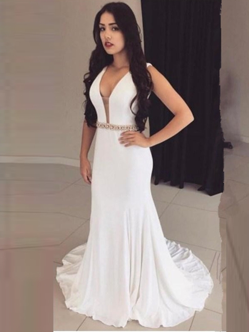 A-Line Sheath Crystal Backless Court Train Evening Dress