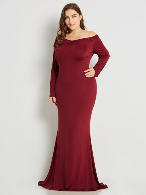 Christmas Open Shoulder Mermaid Plus Size Long Sleeve Women's Maxi Dress
