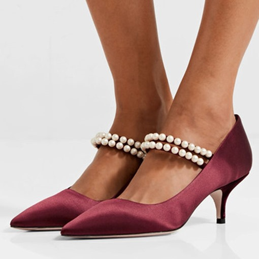 Burgundy Dress Shoes Pearl Slip-On Pointed Toe Women's Pumps