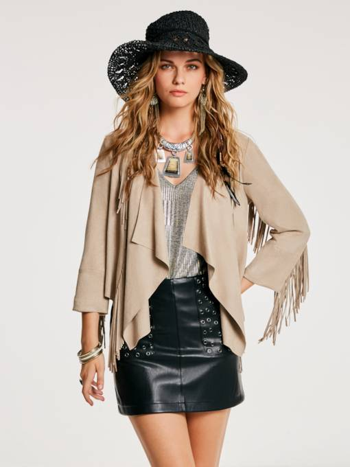 Slim Tassel Patchwork Wrapped Women's Jacket