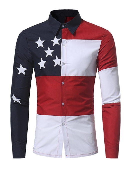 England Style Patchwork Color Block Star Printed Slim Fit Men's Shirt