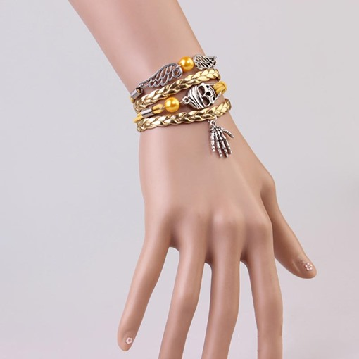 Angel Wings Woven Alloy Synthetic Stones Skeleton Halloween Bracelet