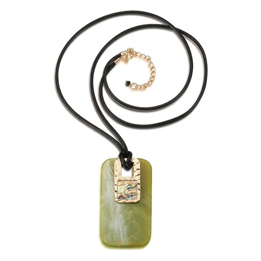 Acrylic PU Rope Alloy Rectangle Pendant Necklace