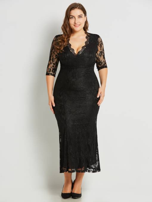 V Neck Plus Size Lace Women's Maxi Dress