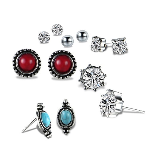 Imitation Turquoise Marquise Zircon Inlaid Vintage Earrings&Rings Jewelry Sets