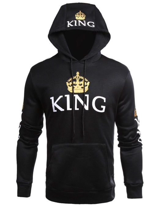 King Print Plain Slim Men's Hoodie