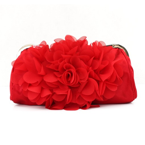 Silk Floral Design Evening Clutch