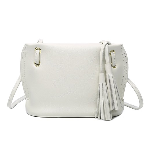 Simple Solid Color Tassel Cross Body Bag