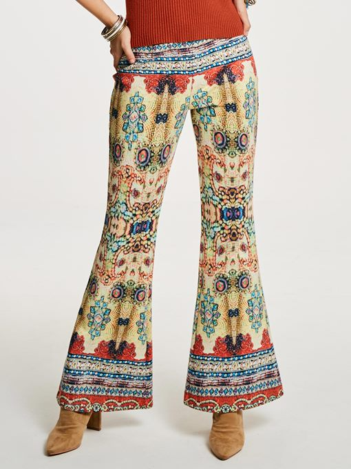 Slim Geometric Print Color Block Women's Bellbottoms