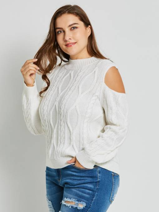 Cold Shoulder Jacquard Weave Plus Size Women's Sweater