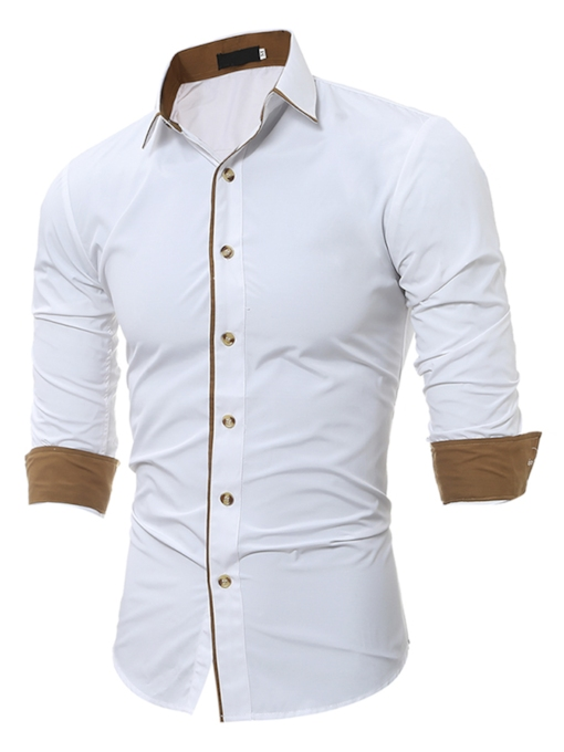 Lapel Contrast Trim Solid Color Slim Fit Men's Dress Shirt