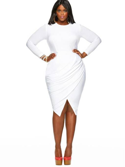 Ruffled Long Sleeve Women's Bodycon Dress