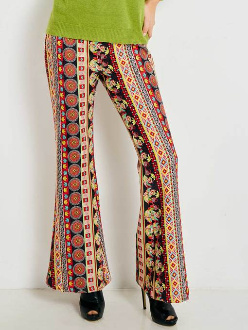 Geometric Print Bellbottom Women's Casual Pants