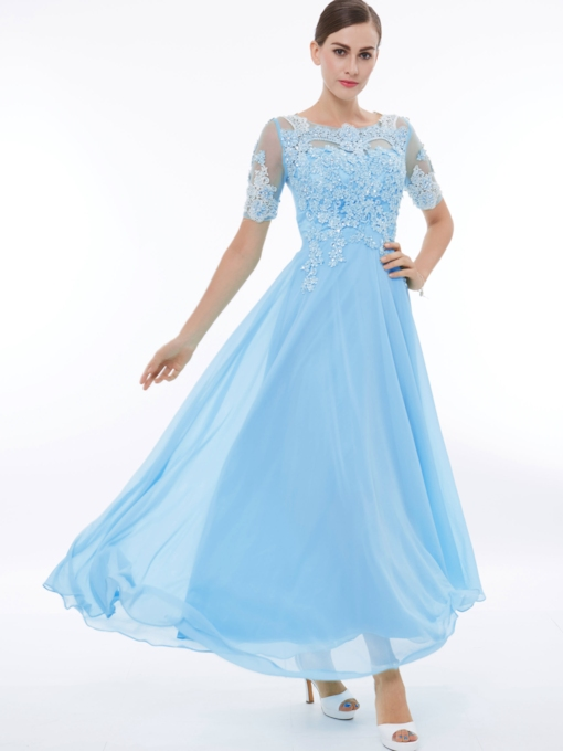 A-Line Short Sleeves Appliques Beading Long Prom Dress