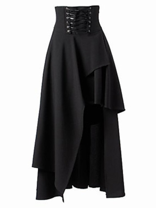 Halloween Costume Plain Asymmetrical Women's Skirt