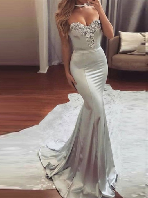 Mermaid Sweetheart Beading Court Train Evening Dress