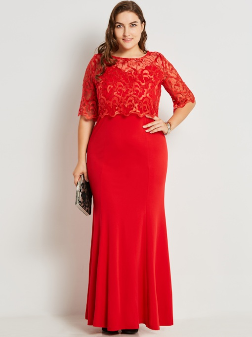Plus Size Hollow See-Through Lace Women's Maxi Dress