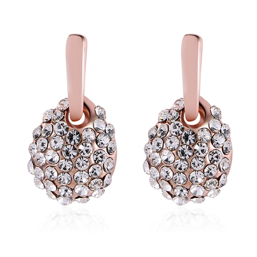 Pear Design Full Drill Alloy Rose Gold Earrings