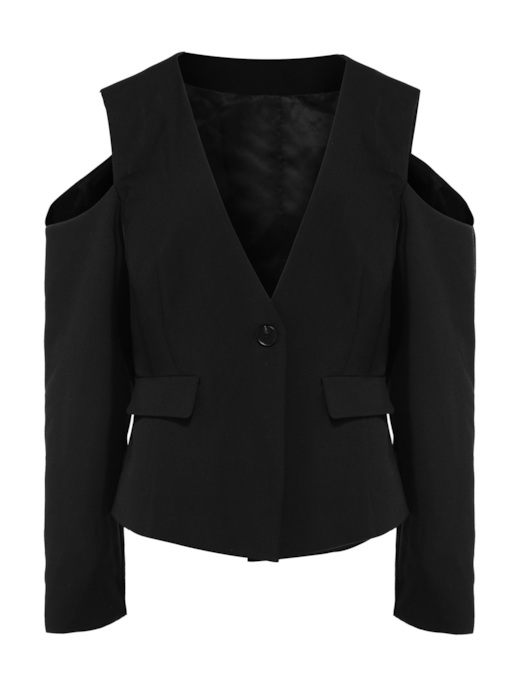 Cold Shoulder Plus Size Pocket Women's Blazer