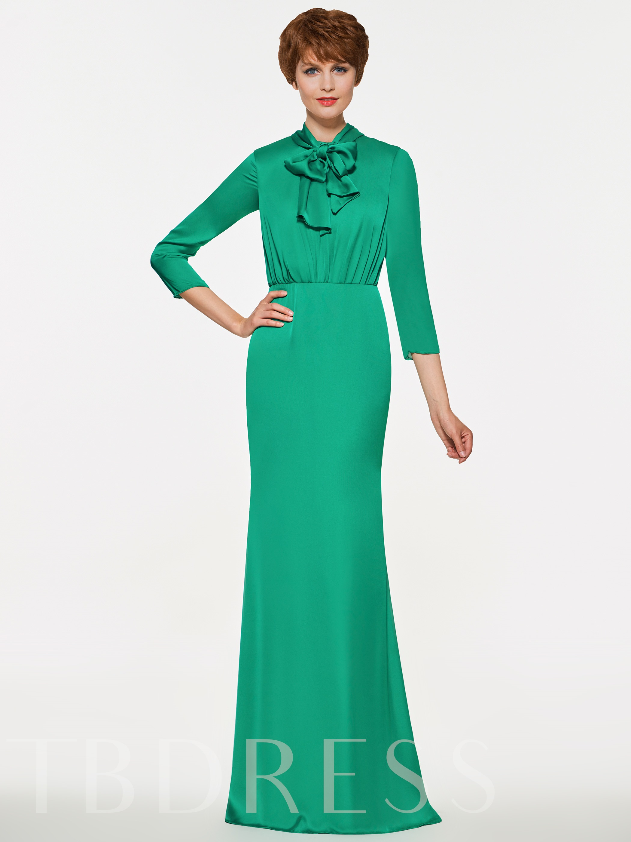 Image of 3/4 Length Sleeves Column Mother of the Bride Dress