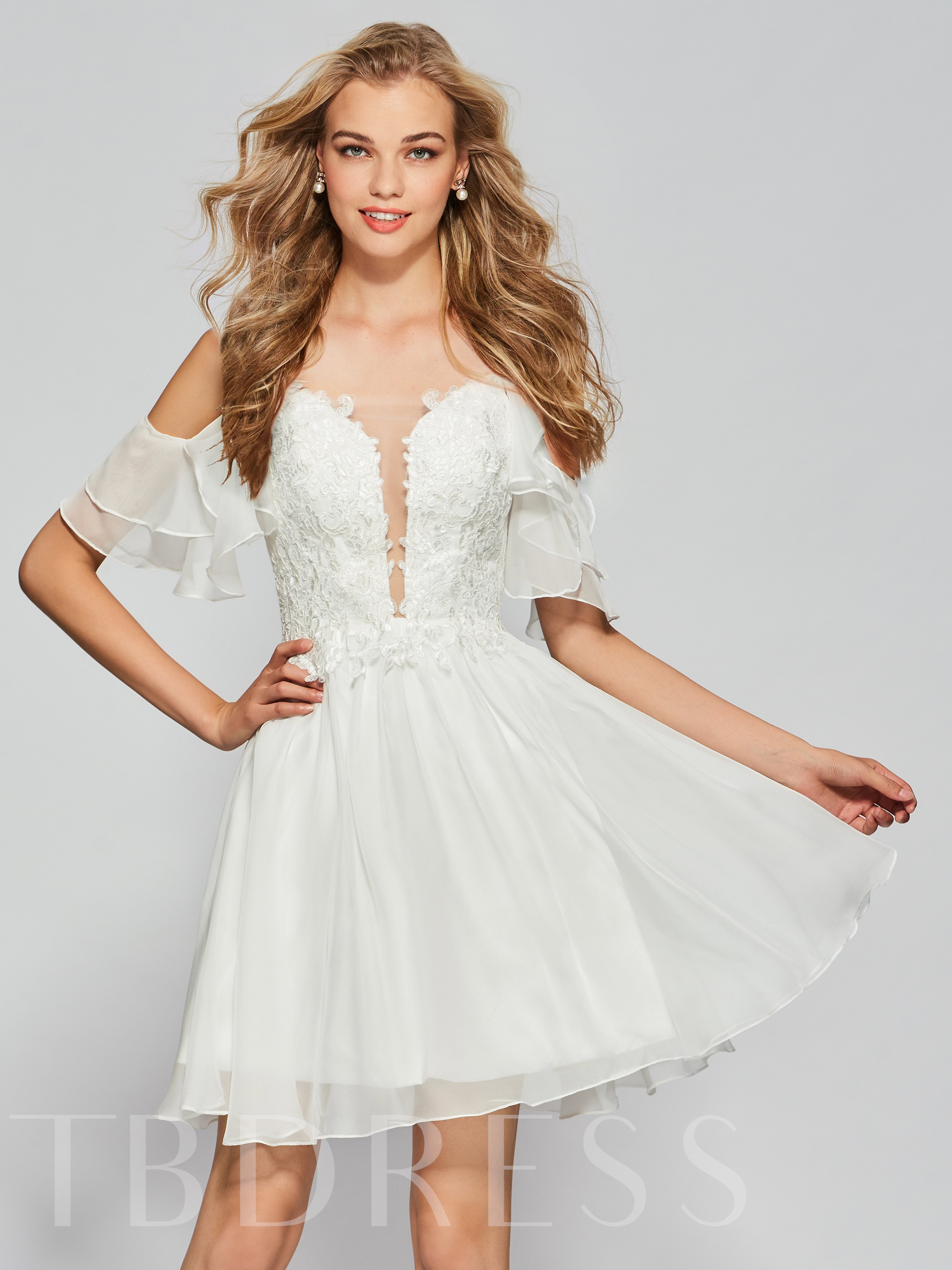 Image of A-Line Half Sleeves Spaghetti Straps Beading Lace Ruffles Homecoming Dress