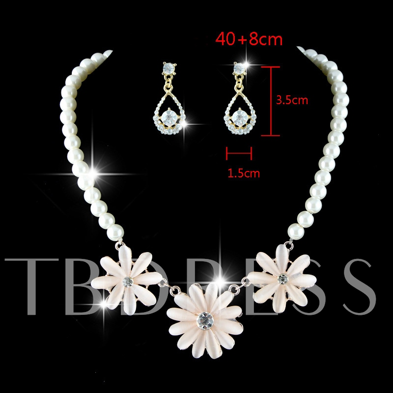 Sparkling Pearl Necklace Diamante Drop Earrings Wedding Jewelry Sets