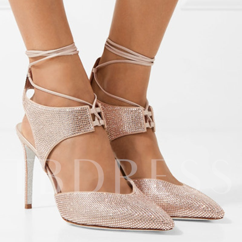 Champagne High Heels Lace-Up Rhinestone Suede Dress Shoes for Women