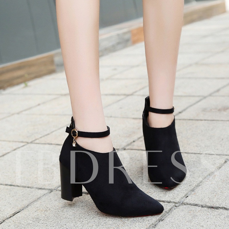 Chunky Heel Short Floss Buckle Rhinestone Women's Ankle Boots