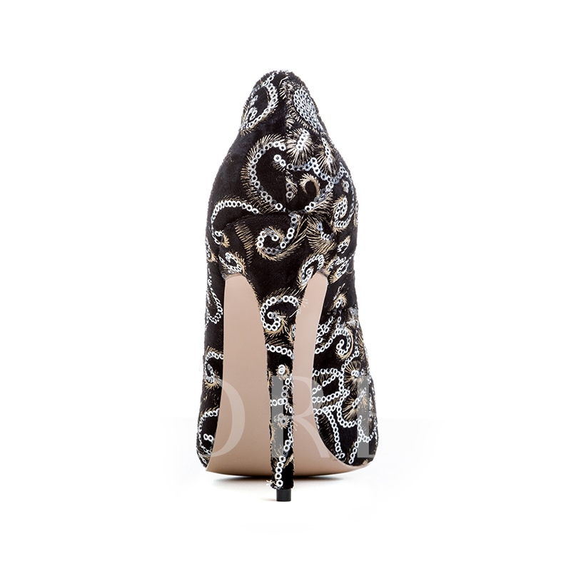 Embroidery Sequines Suede Women's High Heels Black Dress Shoes