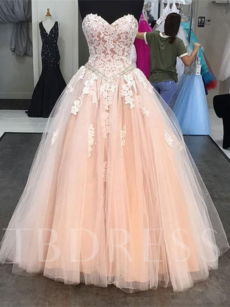 Sweetheart Ball Gown Appliques Beading Floor-Length Quinceanera Dress