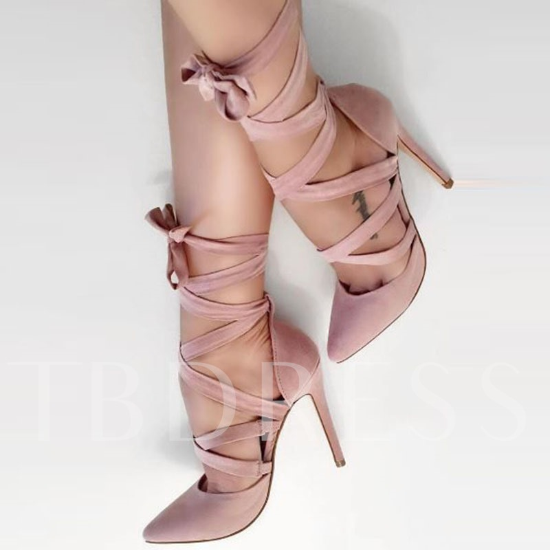 Buy Pink Lace-Up Shoes Plain High Heel Dress Shoes (Plus Size Available), Sheshoe, Spring,Summer,Fall, 12973396 for $60.99 in TBDress store