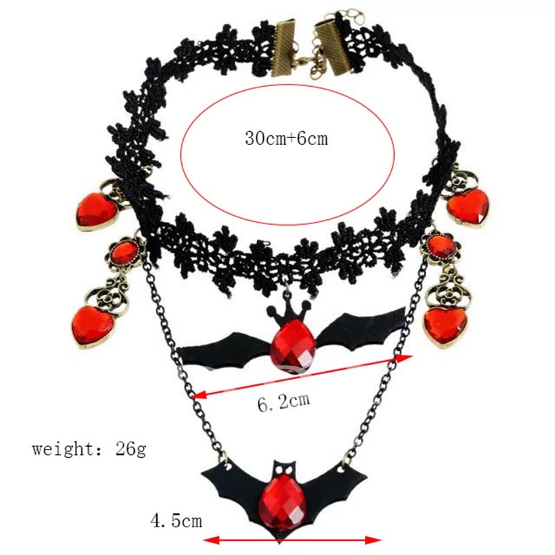 Halloween Series Lace Black Bat Heart-Shaped Red Stone Torques Choker Necklace
