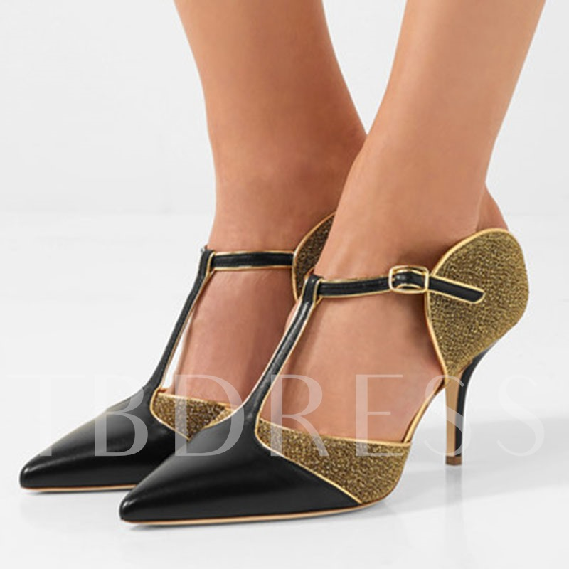 Buy T-Shaped Buckle Patchwork Dress Shoes High Heel Pumps (Plus Size Available), Sheshoe, Spring,Summer,Fall, 12973385 for $58.99 in TBDress store