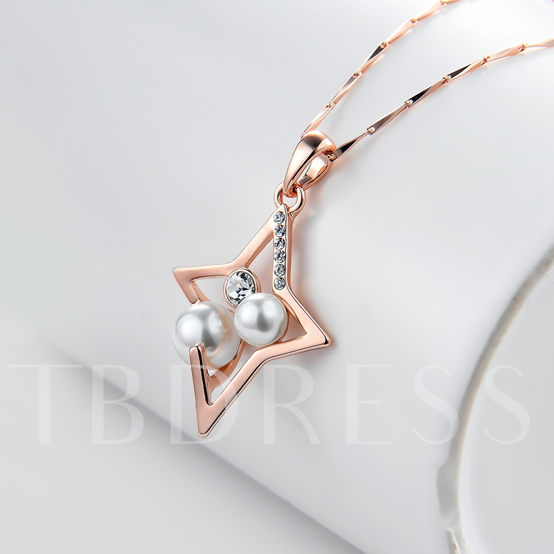 Zircon Inlaid Pearl Bamboo Chain Rose Gold Necklace