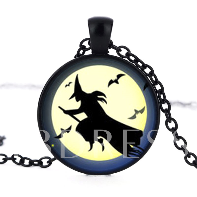 Halloween Series Moon Witch Bat Handcraft Necklace