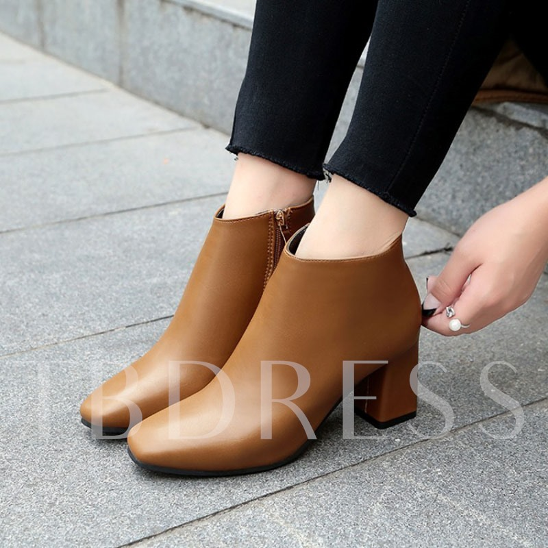 Side Zipper Plain Chunky Heel Shoes Women's Ankle Boots