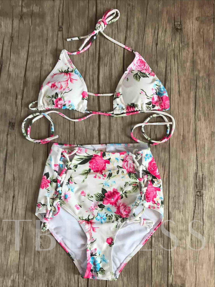 Flower Print Hollow High-Waist Bikini Set