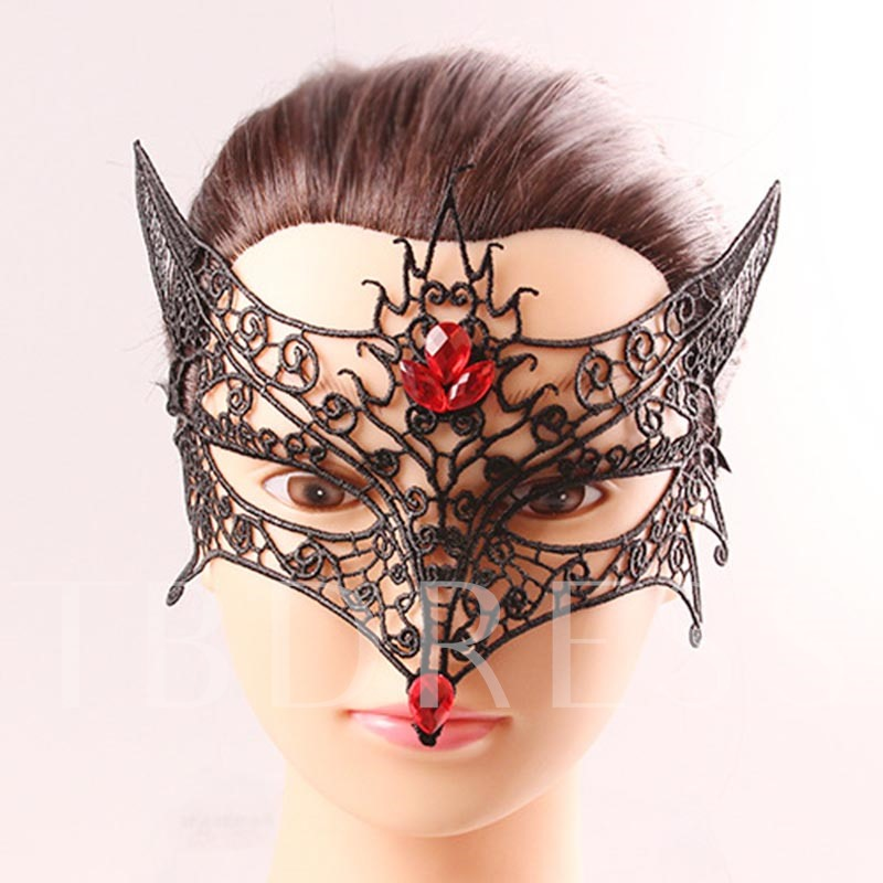 Fox Shaped Lace Hollow Out Halloween Masquerade Gothic Eye Mask