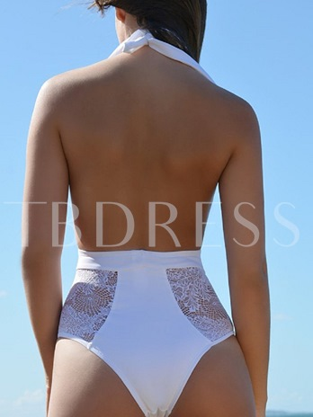 Deep V-Neck Lace Patchwork Backless One Piece Swimsuit