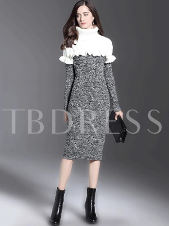 Turtle Neck Falbala Women's Sweater Dress